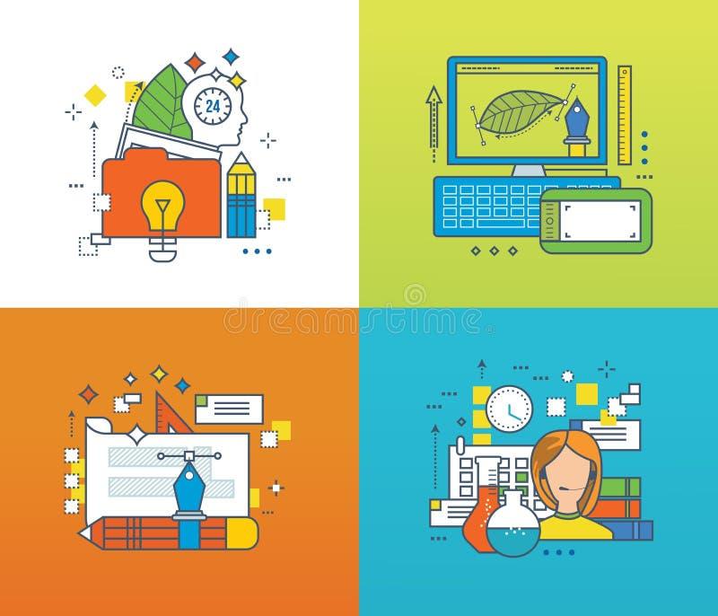 Konzept - kreatives Design und Schaffung, on-line-Training, technische Unterstützung lizenzfreie abbildung