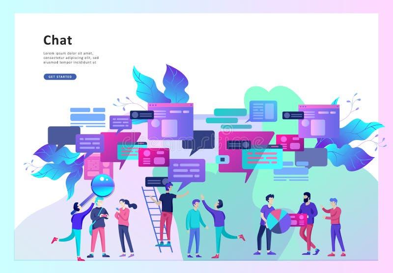 Konzept-Landungsseitenschablone, flache Art, Geschäftsmänner besprechen Soziales Netz, Nachrichten, soziale Netzwerke lizenzfreie abbildung