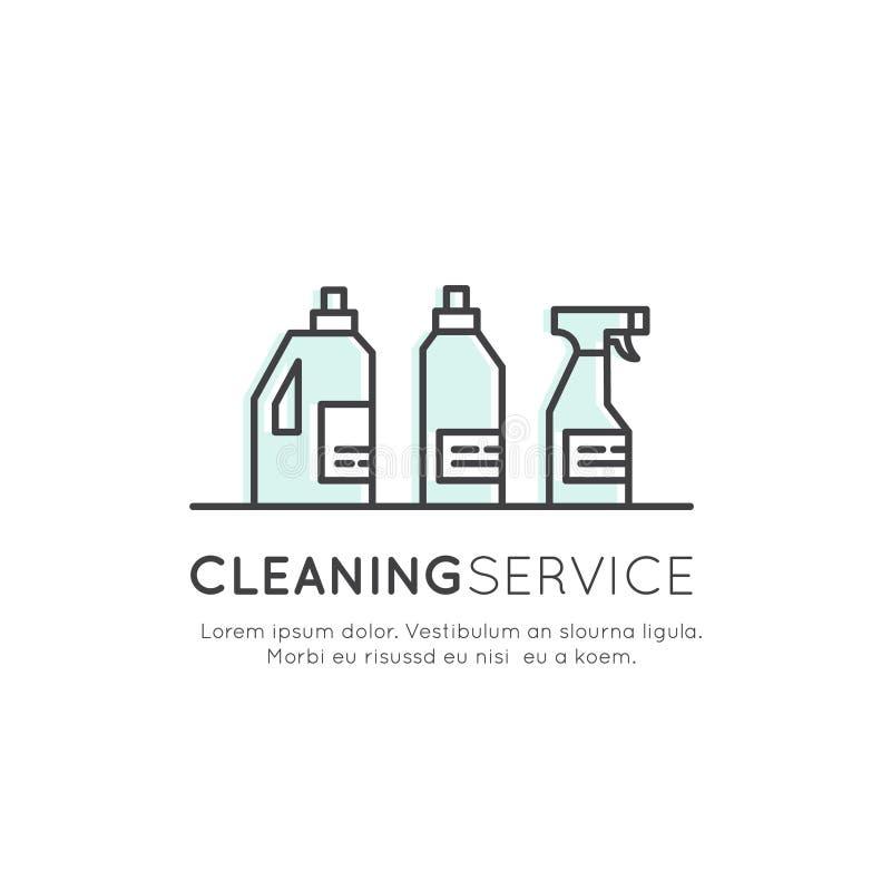 Konzept-Logo von Cleaning Service, Plumbing, Dishwashing, Household Company lizenzfreie abbildung