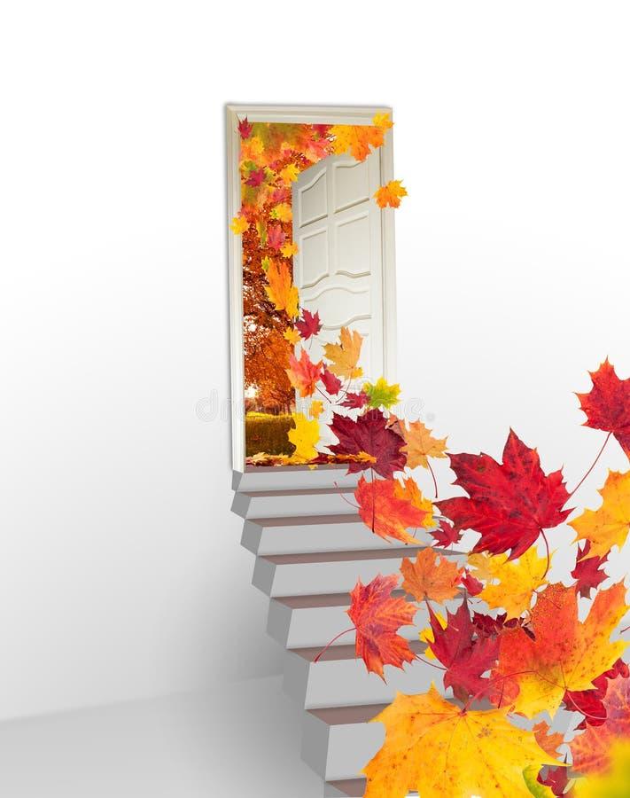 Konzept mit geöffneter Tür in Herbstlandschaft stock abbildung