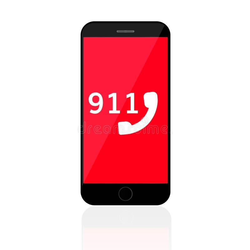 Konzept mit 911 Notruf-Zahl-Handyanruf-Polizeien vektor abbildung