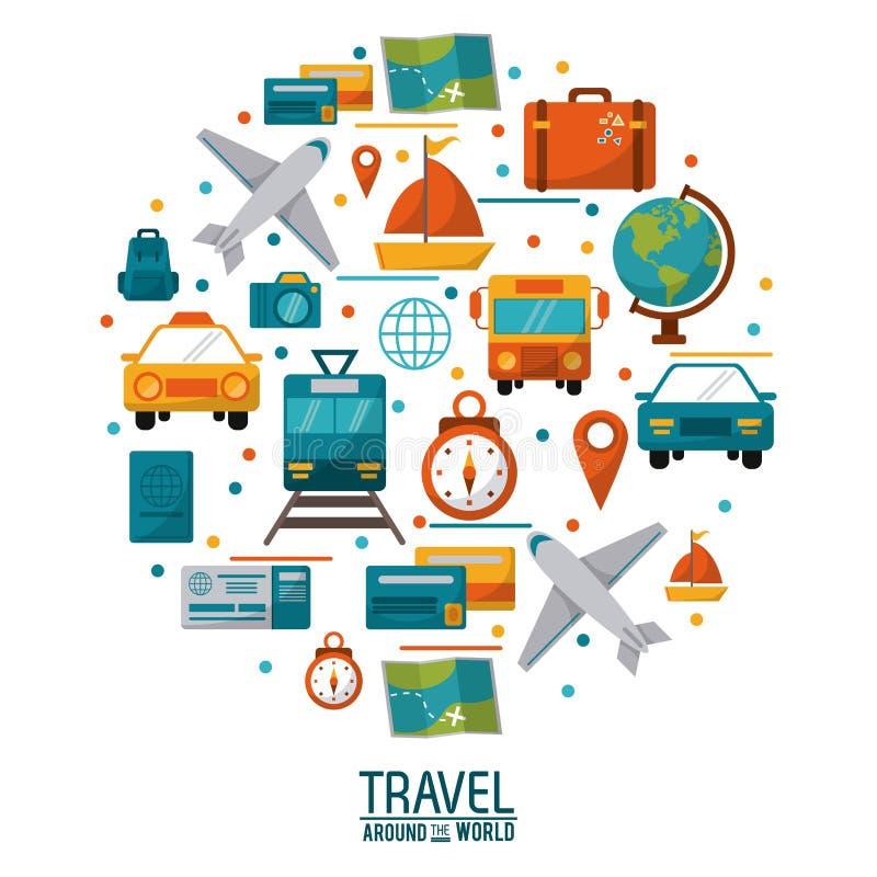Konzept-Plakatdesign der Reise auf der ganzen Welt lizenzfreie abbildung