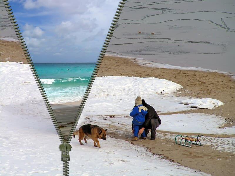 Konzept - Reise Vom Winter Am Sommer Stockfotos