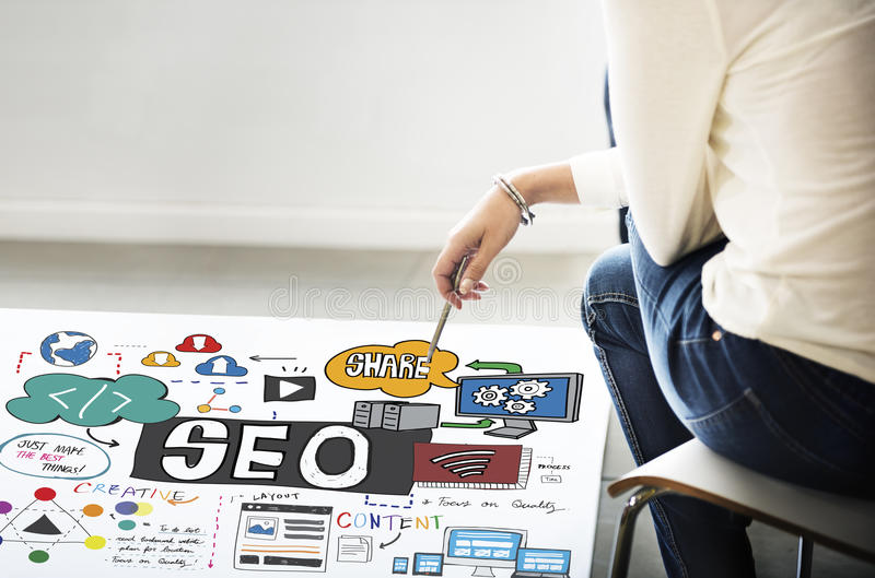 Konzept SEO Search Engine Optimization Internets Digital lizenzfreie stockfotografie