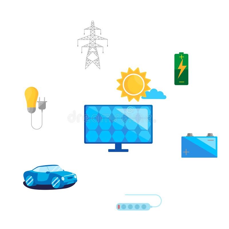 Konzept sicher und alternative erneuerbare Energie benutzen Solarenergiekonzeptentwurf vektor abbildung