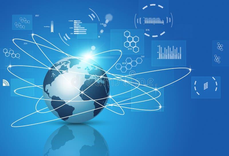 Konzept-Technologie-globale Verbindungen lizenzfreie abbildung