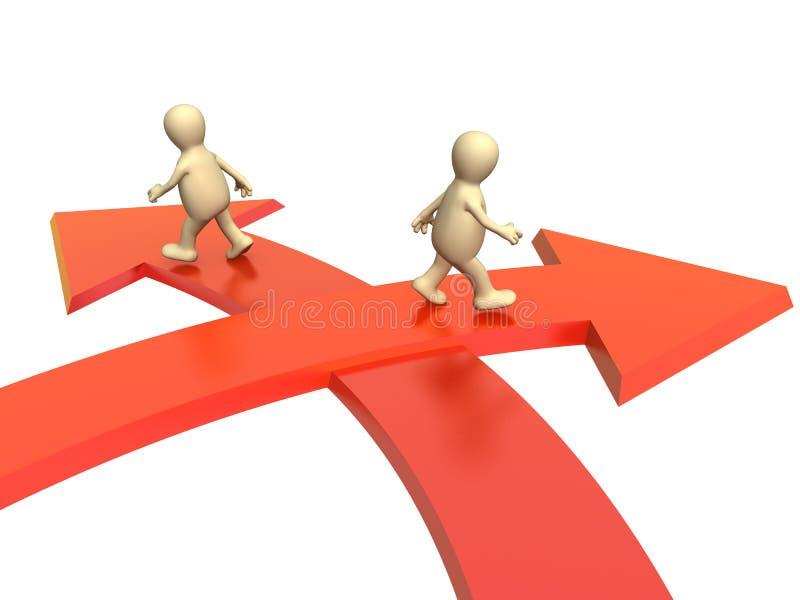 Konzept - unterschiedliche Richtung in Geschäft stock abbildung