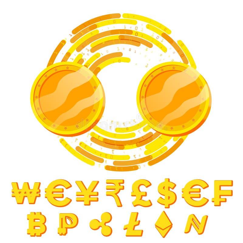 Konzept-Vektor des Geld-Geldumtausch-freien Raumes Fintech Blockchain Goldene Münzen mit Digital-Strom Bargeld und virtuelles stock abbildung