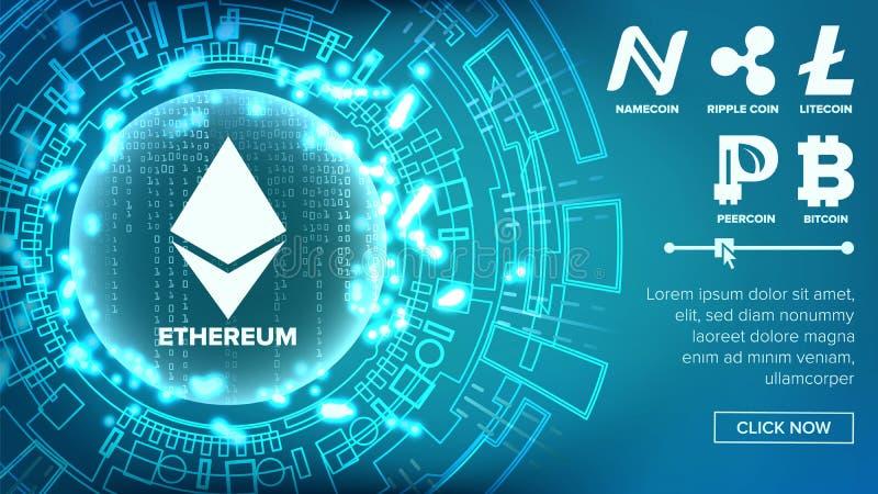 Konzept-Vektor Fintech Blockchain Bitcoin, Dollar Goldene Münzen lizenzfreie abbildung