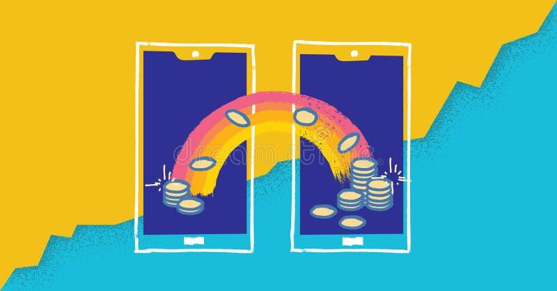 Konzept-Vektorillustration der beweglichen Zahlungen moderne mit abstrakten Geräten und digitalem Geldgeschäft lizenzfreie abbildung