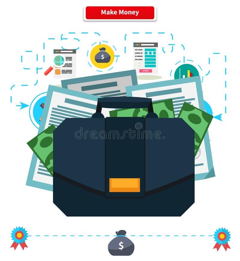 Konzept verdienen Geld Aktenkoffer mit Einkommen vektor abbildung