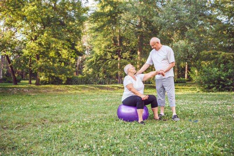Konzept von älteren Paaren des älteren gesunden Lebensstils üben toge aus stockbilder