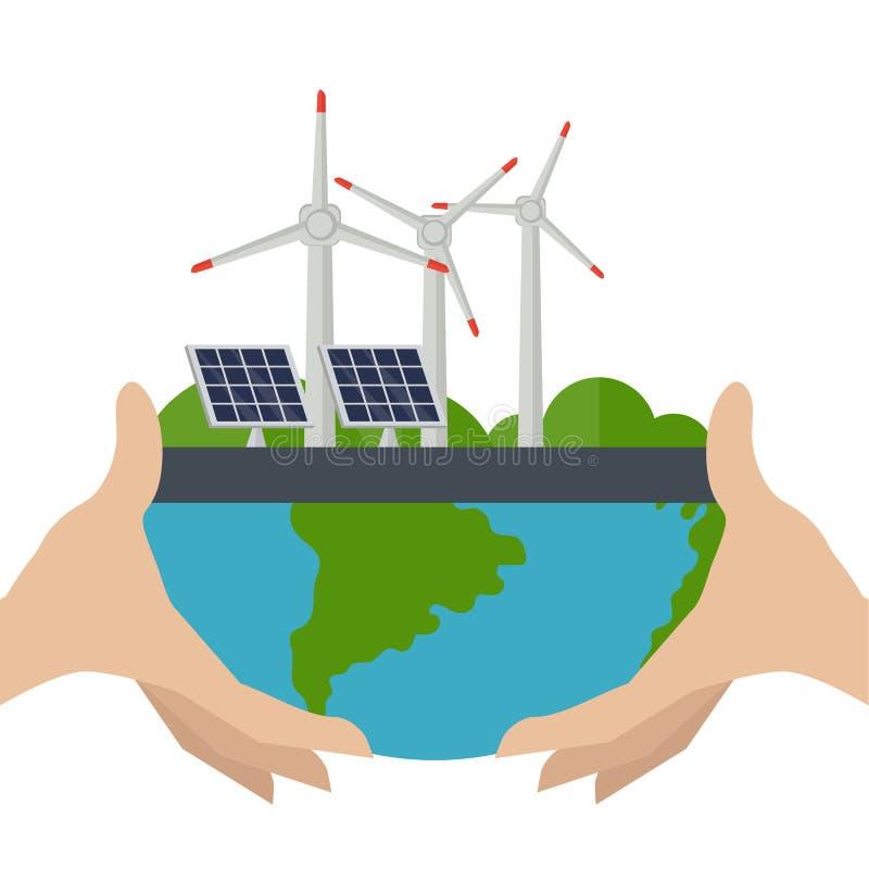 Konzept von alternativen Energiequellen lizenzfreie abbildung