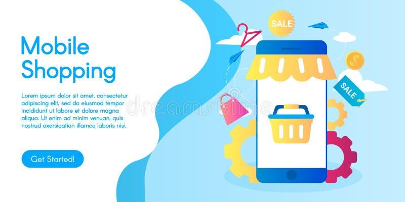 Konzept von beweglichen Einkaufsdienstleistungen, Vektorgeschäftsillustration im flachen Design vektor abbildung