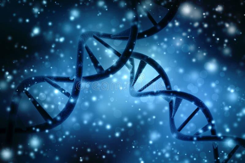 Konzept von Biochemie mit DNA-Molekül im medizinischen abstrakten Hintergrund Wiedergabe 3d vektor abbildung