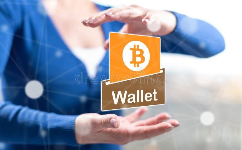 Konzept von bitcoin Geldbörse lizenzfreie abbildung