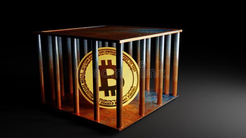 Konzept von Bitcoin-Münze im Käfig, Preis, der, Wiedergabe 3D abfällt lizenzfreie abbildung