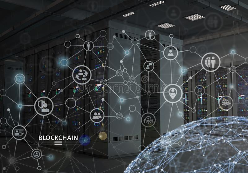 Konzept von Blockchain Cryptocurrency-Plattform stockbild