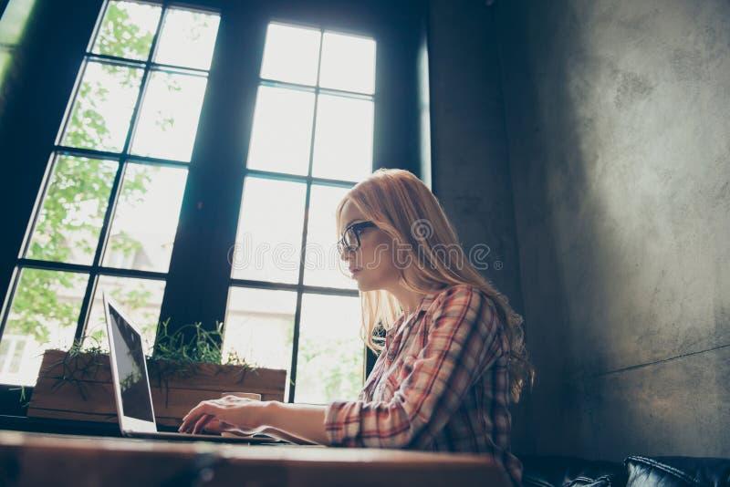 Konzept von Coworking über das Internet Seitenprofil ha des niedrigen Winkels lizenzfreies stockbild