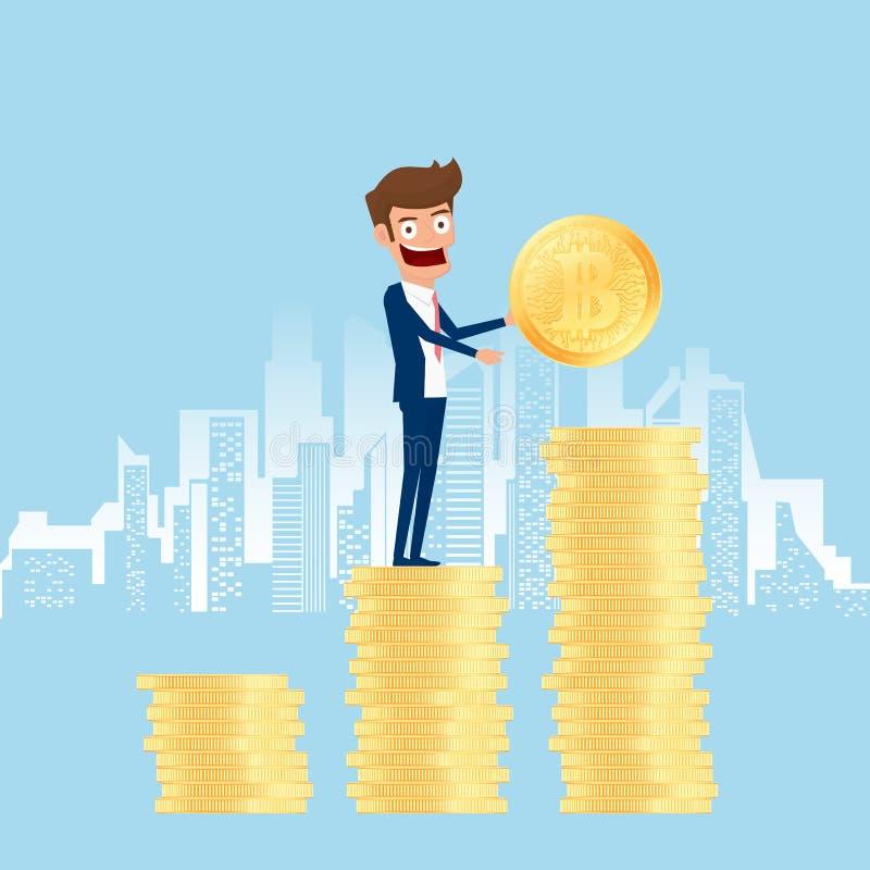 Konzept von digitalen Schlüsselbitcoins bergbau des virtuellen Geschäfts Geschäftsmann hält goldene bitcoins und das Setzen in de lizenzfreie abbildung