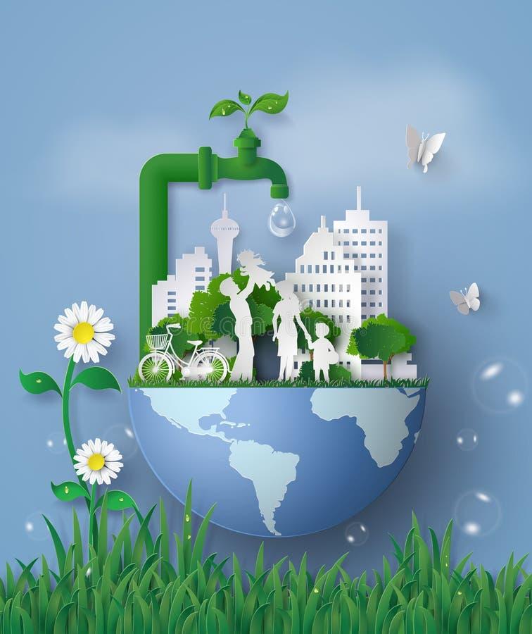 Konzept von eco und wolrd wässern Tag mit Familie lizenzfreie abbildung