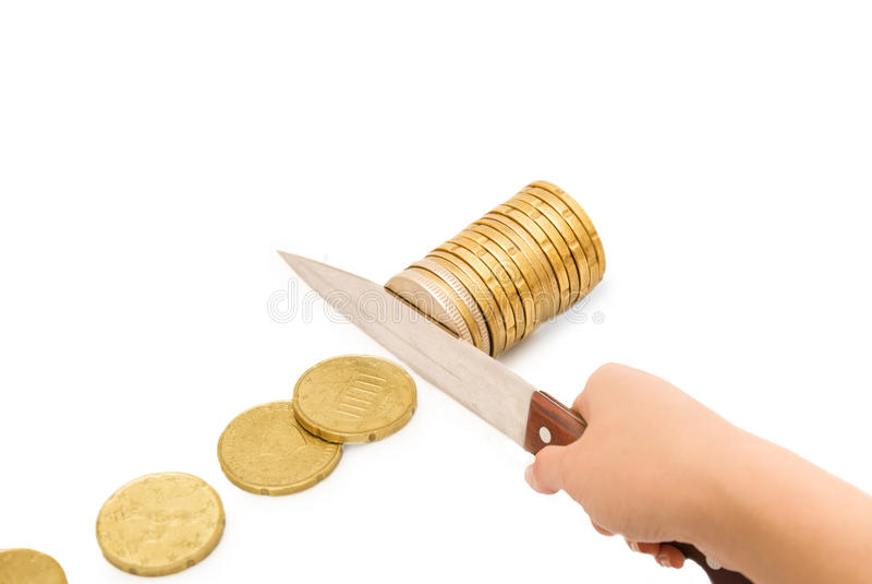 Konzept von Etatverkürzungen, Einsparungen, Rezession stockbild