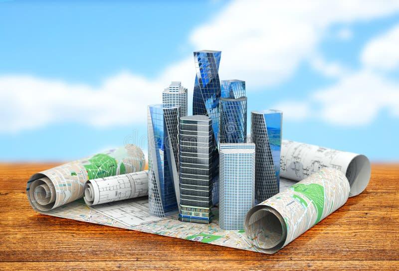 Konzept von Gebäudestädten für Wirtschaftspublikationen stock abbildung