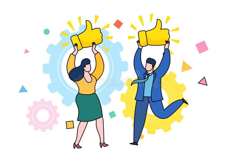 Konzept von Gleichen und von positivem Feedback Glückliche Frau und Mann mit Preis Daumen herauf Zeichen stock abbildung