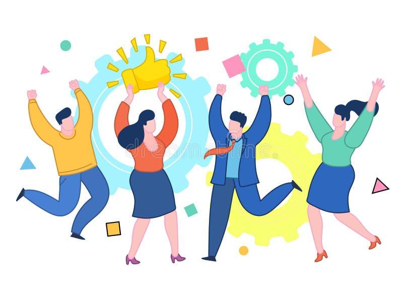 Konzept von Gleichen und von positivem Feedback Glückliche Frau mit den prize Daumen up Zeichen vektor abbildung