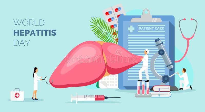 Konzept von Hepatitis A, B, C, D, Zirrhose, Welthepatitistag lizenzfreie abbildung