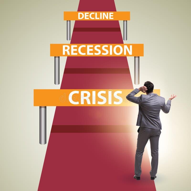 Konzept von Krise und Rezession und Herausforderungen stockfotos
