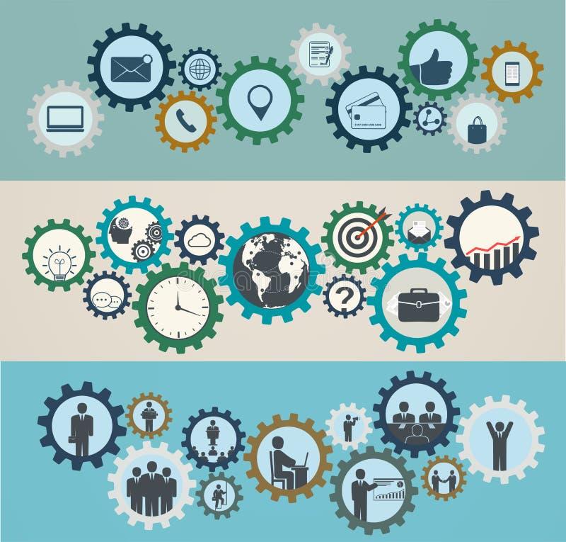 Konzept von Mechanismen mit Geschäftsikonen, Arbeitskräfte lizenzfreie abbildung