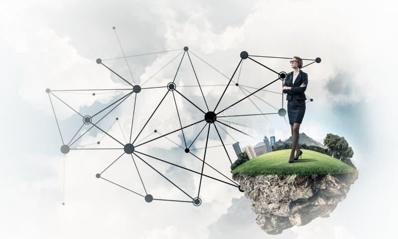 Konzept von modernen drahtlosen Technologien als effektivem Werkzeug für BU stockfoto