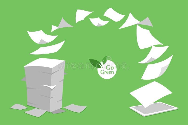 Konzept von weißem ohne Papier des Stapels gehen Grün lizenzfreie stockfotos