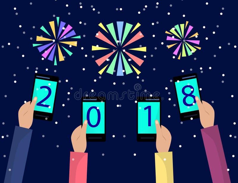 Konzept von Weihnachten und von Feiertagsfeier des neuen Jahres mit Feuerwerken für Grußkartendesign Hände, die Handys halten Fla lizenzfreie abbildung