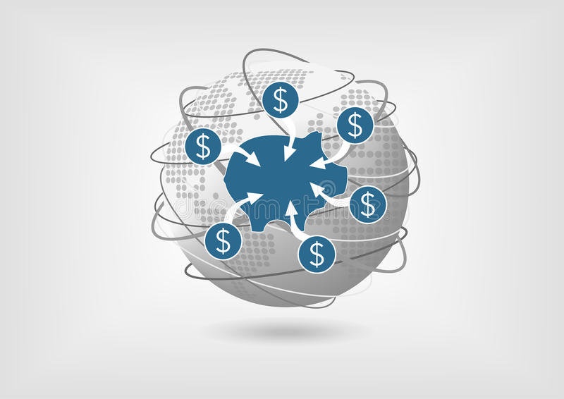 Konzept, zum des Geldes vom Sparkonto in der globalen Wirtschaft zurückzunehmen stock abbildung