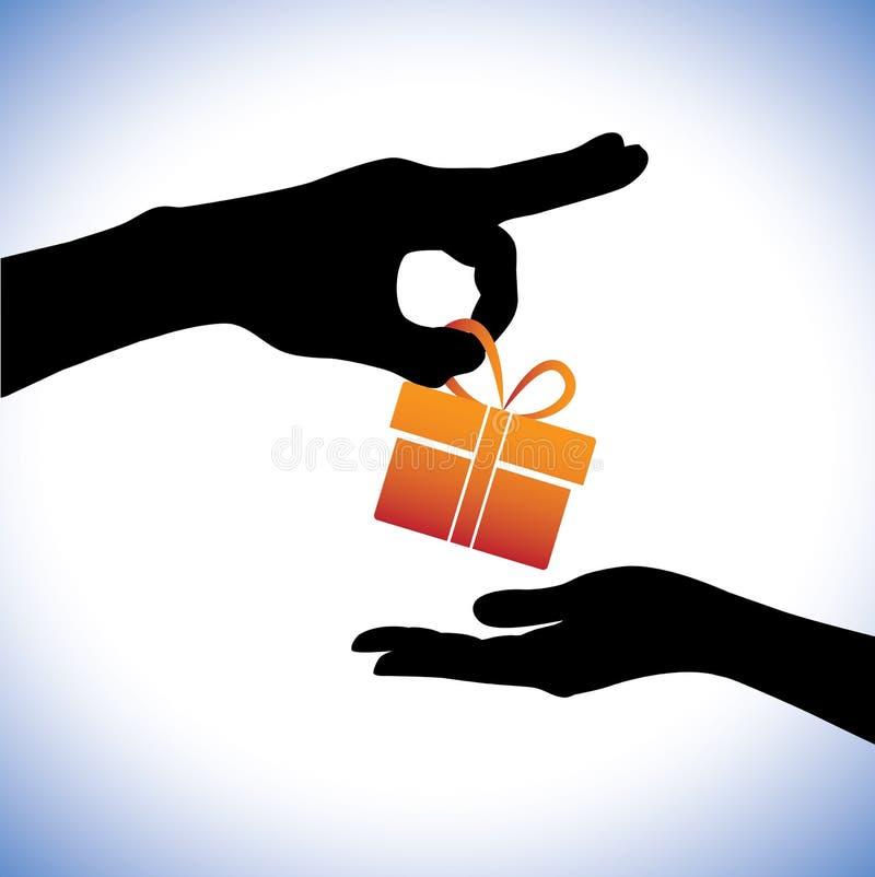 Konzeptabbildung der Person Geschenkpaket gebend stock abbildung
