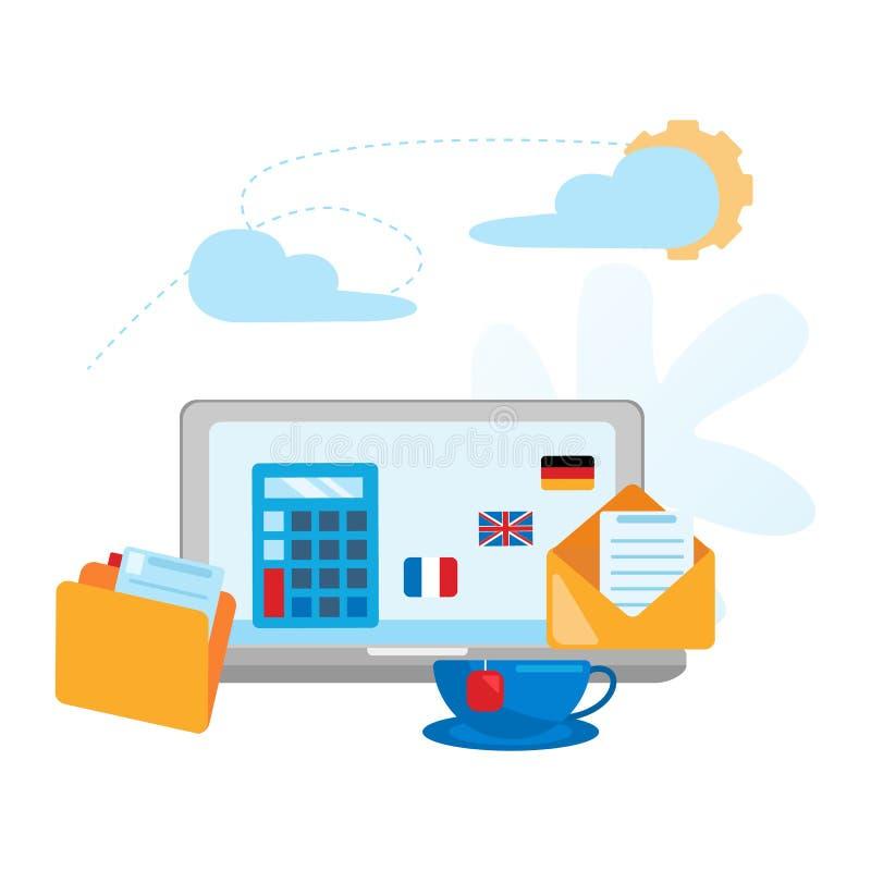 Konzeptbüro Arbeitsplatz Arbeitsplatz für Geschäft Designerdesktop stock abbildung