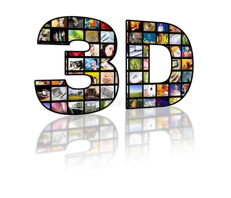 Konzeptbild des Fernsehens 3D. Fernsehfilmpanels lizenzfreies stockbild