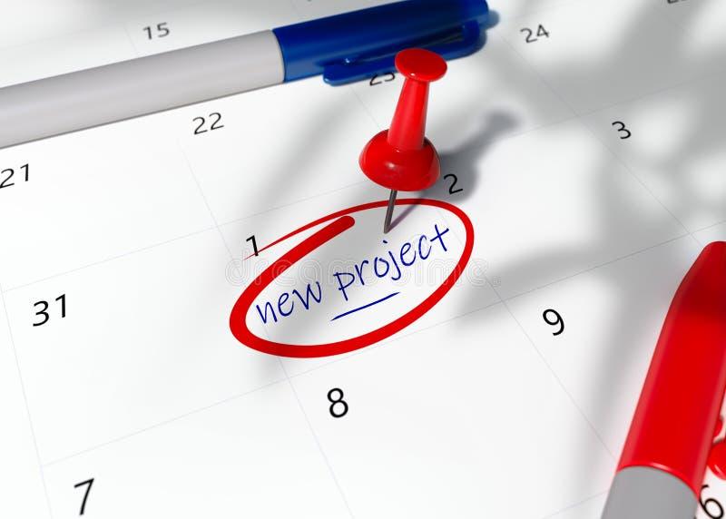 Konzeptbild eines roten Pin auf Kalender mit für wichtige Verabredung zu erinnern Wörter NEUEM PROJEKT, lizenzfreie abbildung