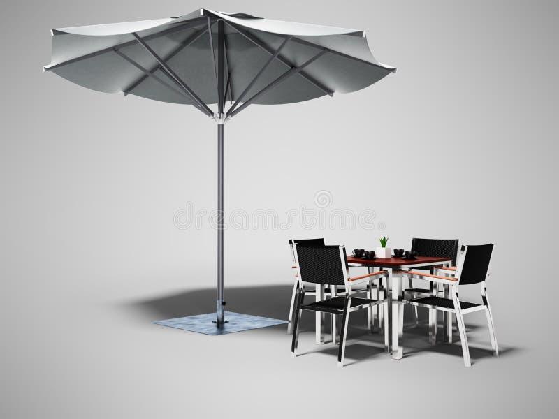 Konzeptcafé Strandschirm und Tabelle mit Stühlen 3d auf grauem Hintergrund mit Schatten übertragen lizenzfreie abbildung