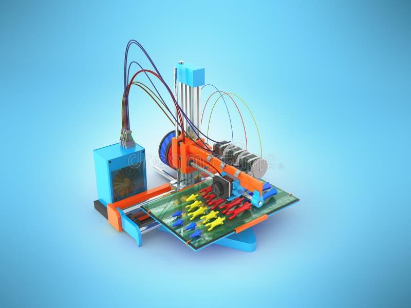 Konzeptdruckhandprothese auf 3d Wiedergabe des Druckers 3d auf Blau vektor abbildung
