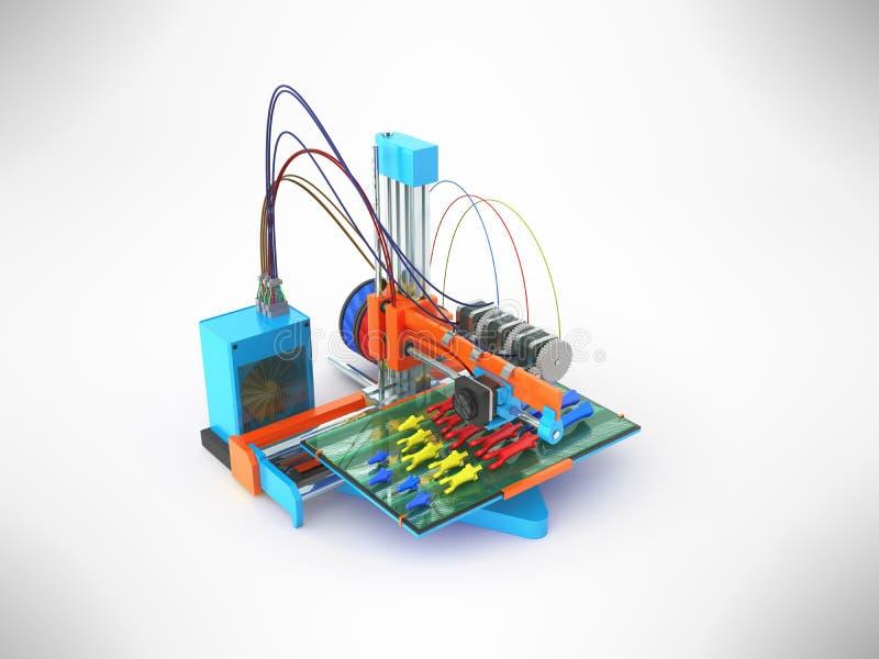 Konzeptdruckhandprothese auf 3d Wiedergabe des Druckers 3d auf Grau stock abbildung