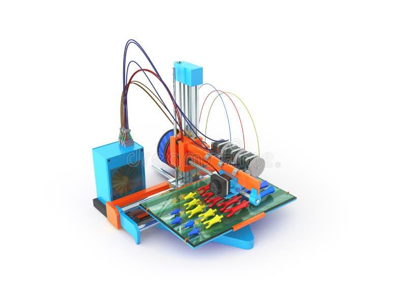 Konzeptdruckhandprothese auf 3d Wiedergabe des Druckers 3d auf Whit vektor abbildung