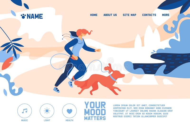 Konzeptfahne mit der jungen Frau, die mit großem orange Hund rüttelt Illustration des Vektors im Freien mit nicht-städtischer Lan lizenzfreie abbildung