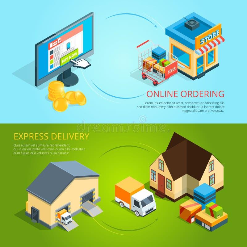 Konzeptfahnen des elektronischen Geschäftsverkehrs Kauf und Lieferung vom Online-Shop lizenzfreie abbildung