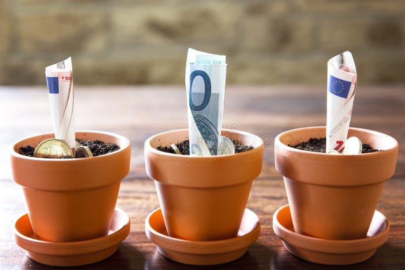 Konzeptfinanzplanung und -investition mit Euro stockbilder