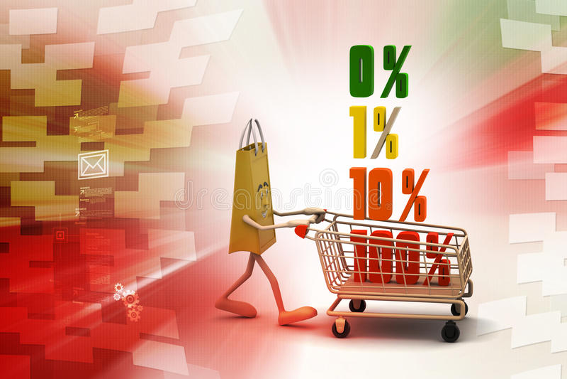 Konzeptfinanzprozente mit Einkaufslaufkatze vektor abbildung