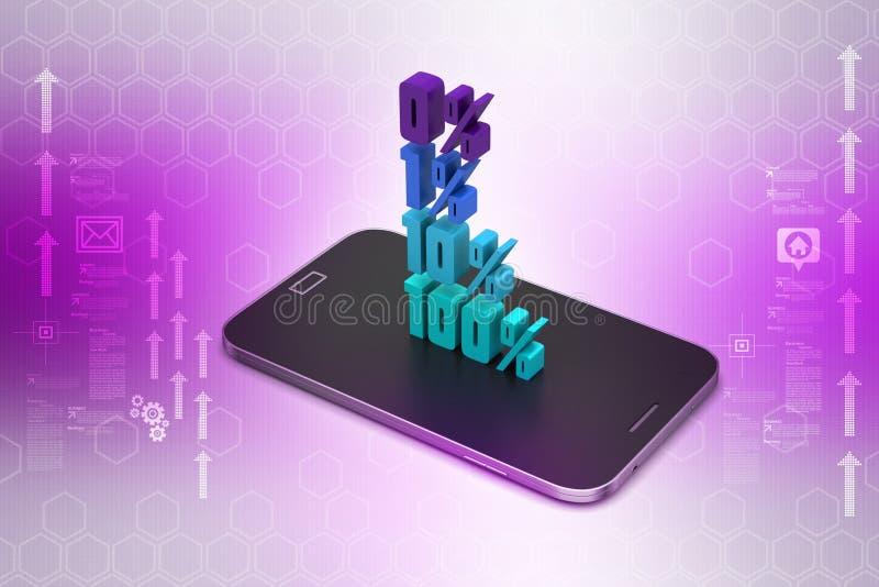 Konzeptfinanzprozente mit intelligentem Telefon lizenzfreie abbildung