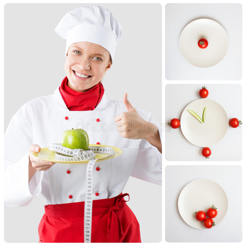 Konzeptfrau der gesunden Diät mit Apfel lizenzfreie stockfotografie